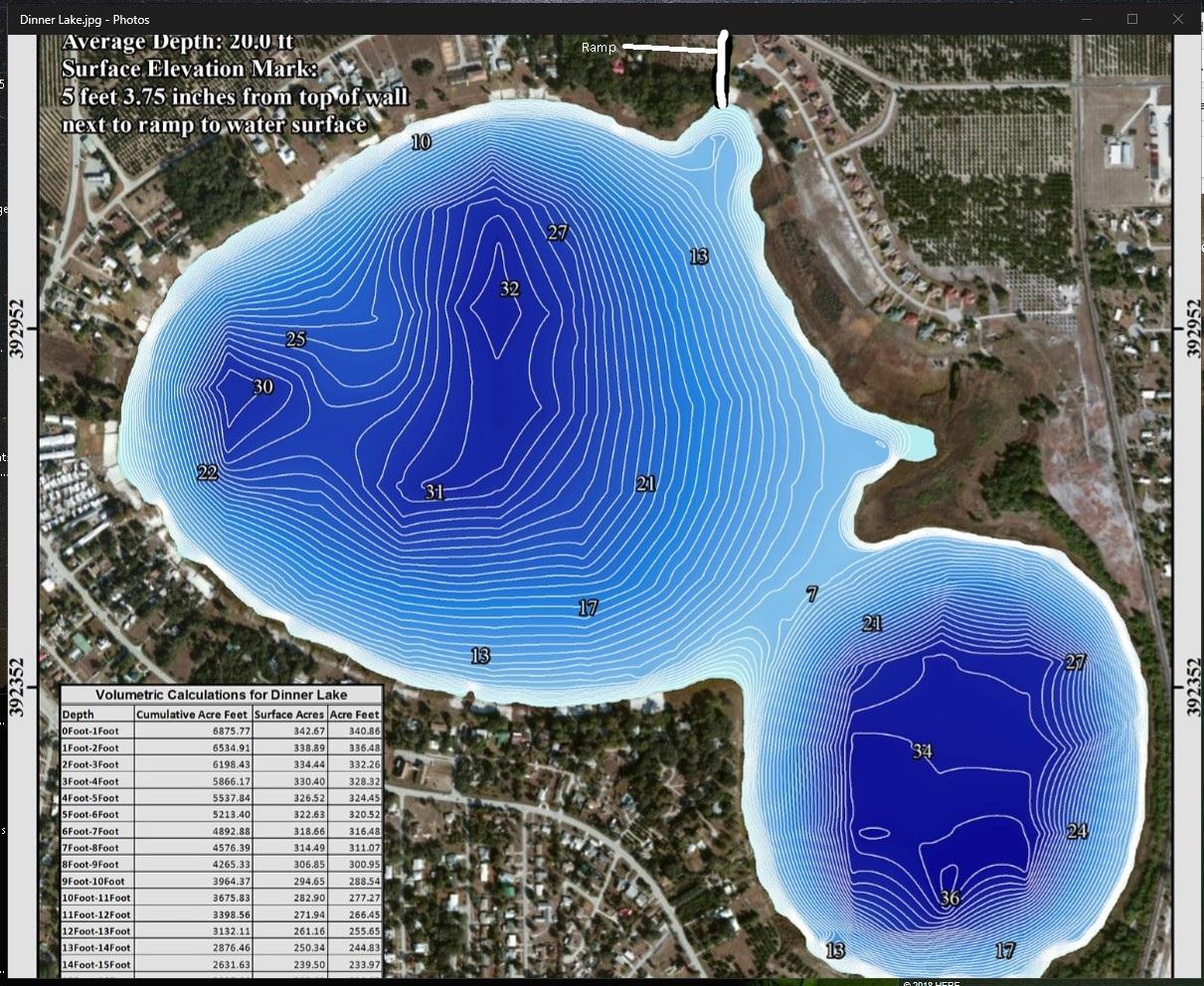 Contour Lake Maps of Florida Lakes - Bathymetric Maps, Boat Ramp