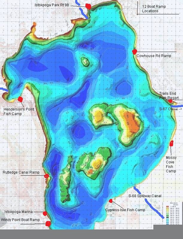 Contour lake maps of florida lakes bathymetric maps for Fish camp lake eustis
